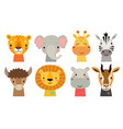 cute animal faces hand drawn characters sweet vector image vector image