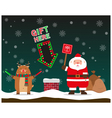 cute fat big Santa Claus and reindeer signal to vector image vector image