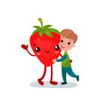 cute little boy hugging giant strawberry character vector image vector image