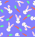 cute rabbit and carrot seamless pattern funny vector image