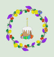 easter cake with a candle and a delicate wreath vector image vector image