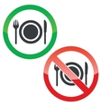 Eating permission signs set vector image vector image