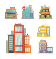 flat design of retro and modern city houses old vector image vector image