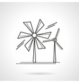 Flat line wind turbines icon vector image vector image