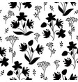 floral tile pattern leaves berries and flowers vector image vector image