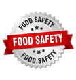 food safety round isolated silver badge vector image vector image