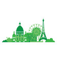 green city silhouette in flat design eco paris vector image