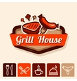 grill house emblem vector image vector image