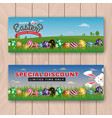 happy easter web banner with painting eggs vector image vector image