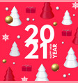 happy new 2021 year design template with 3d vector image