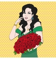 Happy woman holding a rose flower hands vector image vector image