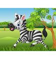 Happy zebra running in the jungle vector image