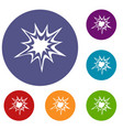 heavy explosion icons set vector image vector image