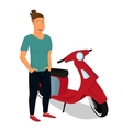 Hipster guy wearing stylish staying near red vector image vector image
