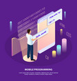 isometric freelance programming background vector image vector image