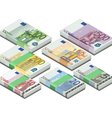 Isometric full set of euro banknotes vector image