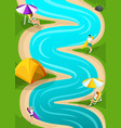 isometric landscape resting on the river runner vector image vector image