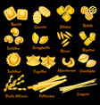italian pasta sorts icons vector image vector image
