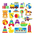 Kids toys cartoon icons collection