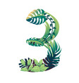 leaf number 3 with different types green leaves vector image vector image