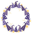 magical starry wizard hats circle wreath vector image vector image
