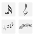 monochrome icon set with notes and treble clef vector image vector image