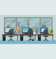 office room with workplaces big window and autumn vector image vector image
