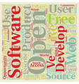 Open Source 1 text background wordcloud concept vector image vector image