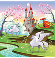 Pegasus unicorn and dragon in a mythological vector image vector image