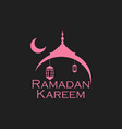 ramadan kareem mosque and a crescent lantern vector image vector image