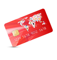 Red Credit Card Isolated on White Background vector image