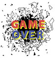 retro game over sign with explosion gaming vector image vector image