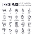 set christmas attributes and decoration icons vector image