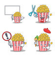 set of popcorn character with board barber sign vector image vector image