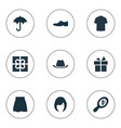 set of simple wardrobe icons vector image vector image