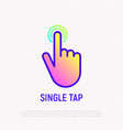 Single tap finger touch thin line icon