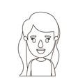 sketch contour half body girl with long wavy hair vector image vector image