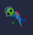 smiling alien with big eyes wearing blue space vector image