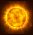 sun planet bright realistic sun with rays glow vector image
