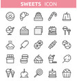 sweet dessert line icons vector image vector image