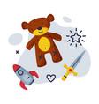 sword teddy bear rocket baby toys set kids game vector image vector image