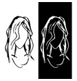 symbol depicting the face of a girl with long hair vector image