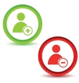 Two user manage icons vector image vector image