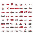 vehicles all kinds big set in red vector image
