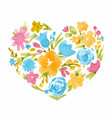 watercolor abstract floral heart vector image vector image