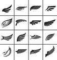 Wings design elements set in different styles vector image