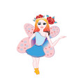 cute little fairy with magic wand flying vector image