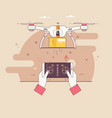 dron delivers the parcelthe concept of fast free vector image