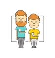 Isolated flat hipster men with beard using vector image
