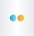 orange and blue spiral circle abstract logo vector image